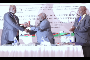 Handing over chairmanship during ZAMCOM CoM 2020 Lusaka Zambia